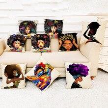 Cojín con estampado de Estilo de Mujeres africano para decoración del hogar, funda de cojín para mujer africana, funda de almohada para dormitorio