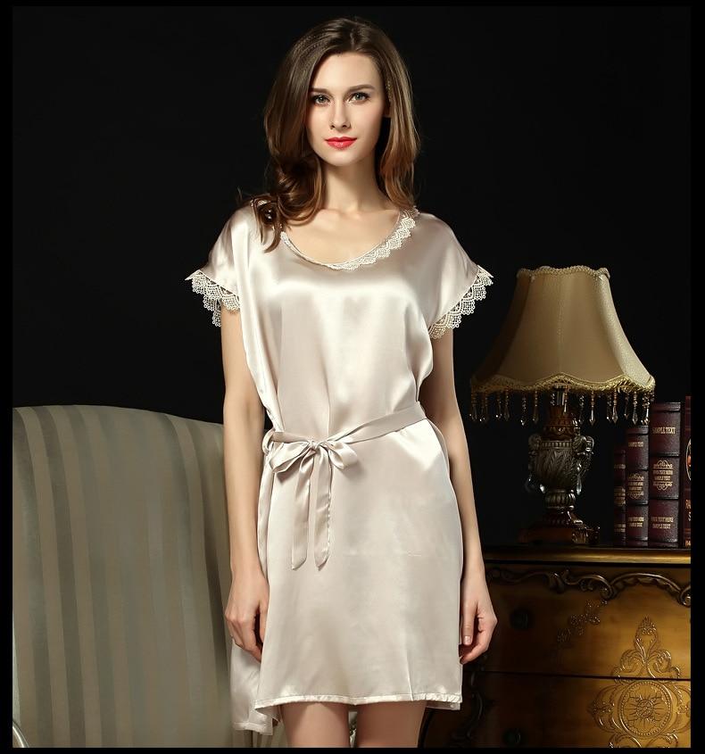 SLKSCF Elegant Real Silk Nightgowns Embroidery 100 Silk Satin Sleeping Skirt Women Comfortable Sleeping Dress