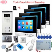 Video Intercom With Rfid Unlock Electronic Lock 7inch Video Door Phone Intercom System With Recording + 8GB TF Card  4 Monitors