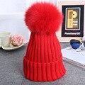 2017 Adult Genuine Real Mink Fox Fur Pom poms Winter Hats For Women Big Real Fox Fur Pompoms Ball Wool Knit Skullies & Beanies