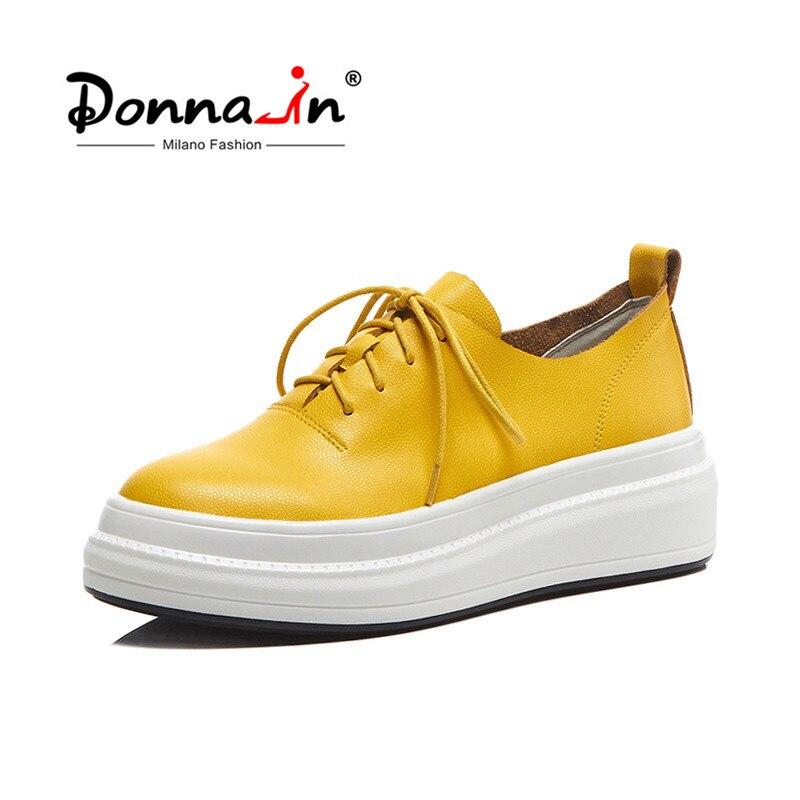 דונה-ב נשים דירות נעלי פלטפורמת סניקרס נעלי עור אמיתי אביב אופנה סניקרס מטפסי שרוכים נעליים נוחות