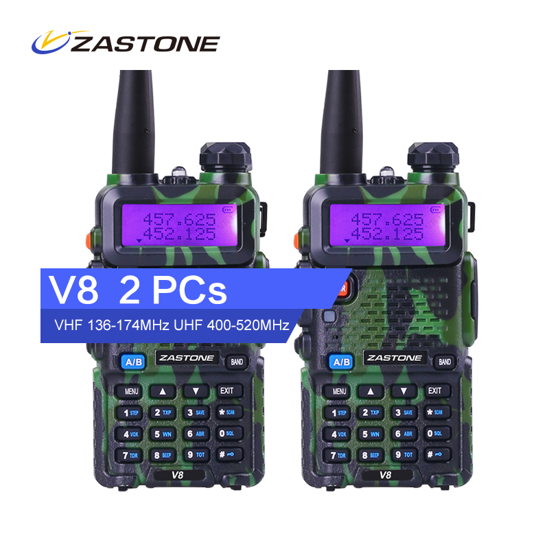 imágenes para Zastone Original V8 Camuflaje 5 W 3-5 km 136-174/400-520 MHz Walkie Talkie de Radio Transmisor-Receptor 128 canales VHF + UHF de Mano de Radio