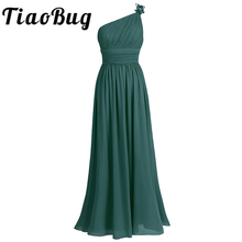 TiaoBug One Shoulder Bridesmaid Dress Chiffon Gowns