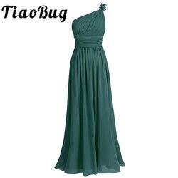 Tiaobug um ombro vestido de dama de honra verão chiffon praia casamento vestidos de festa formatura longo dama de honra maxi tule rendas vestidos