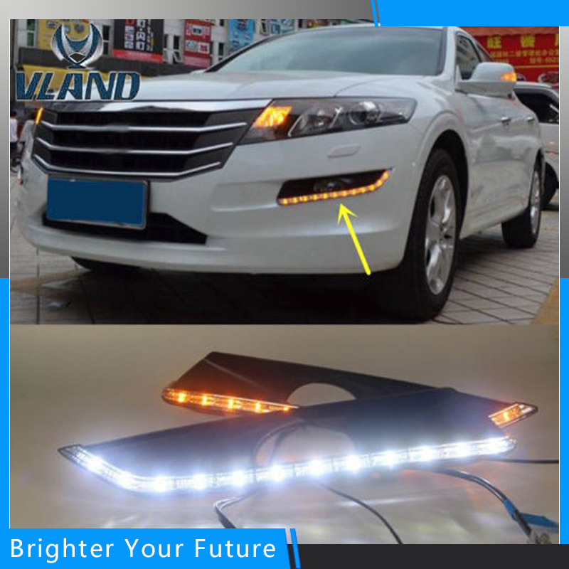 2Pcs White+Yellow Lamp Daytime Running Light DRL for HONDA Crosstour 2011 2012 2013 auto daylight turn signal fog lamp car white yellow daytime running light drive lamp for buick regal gs 2010 2011 2012 2013 2014 2015 led drl daylight fog lamp