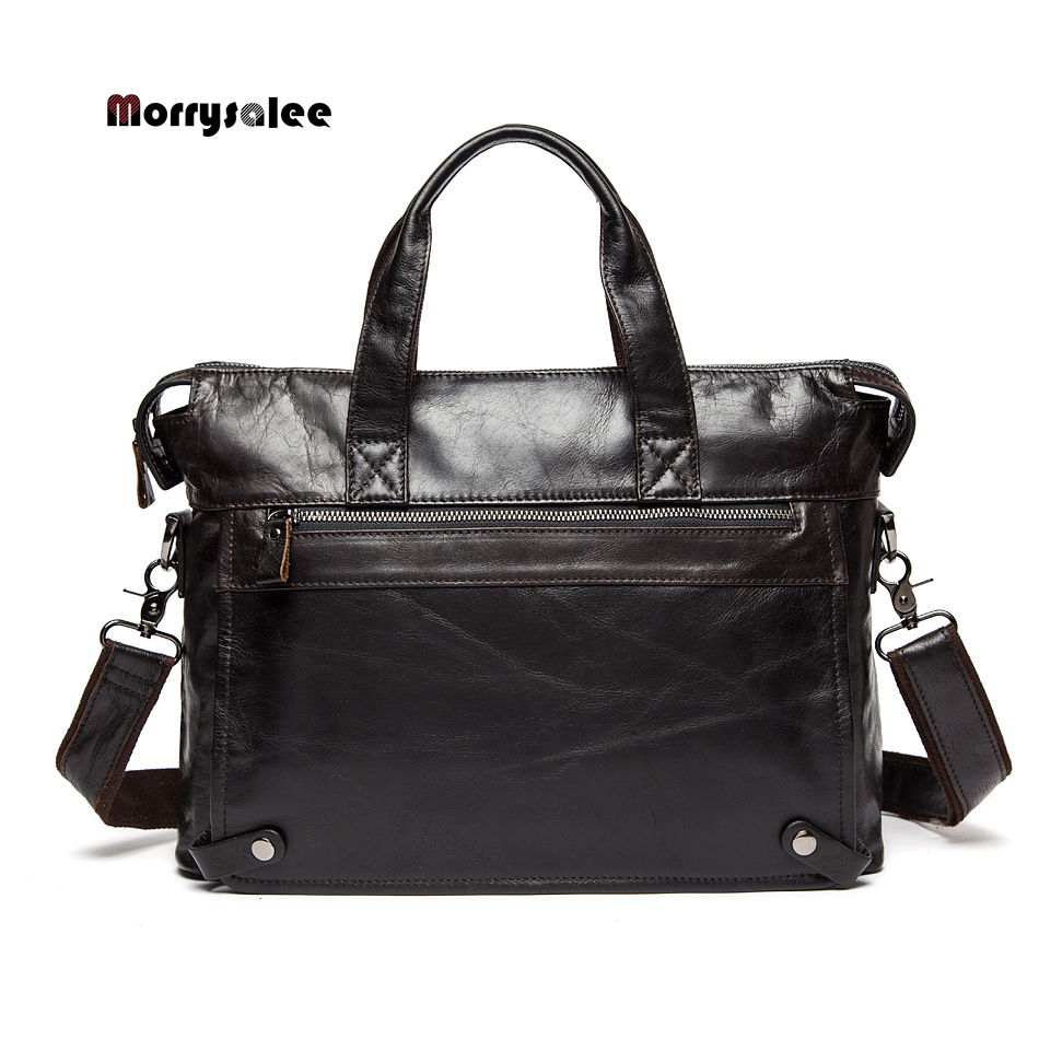 General leather men's bag leisure business briefcase first layer of leather cowhide shoulder Messenger bag men's handbag 2017 now houlder messenger bag genuine leather business leisure bag retro 100% cow first layer of leather bag 14inch briefcase