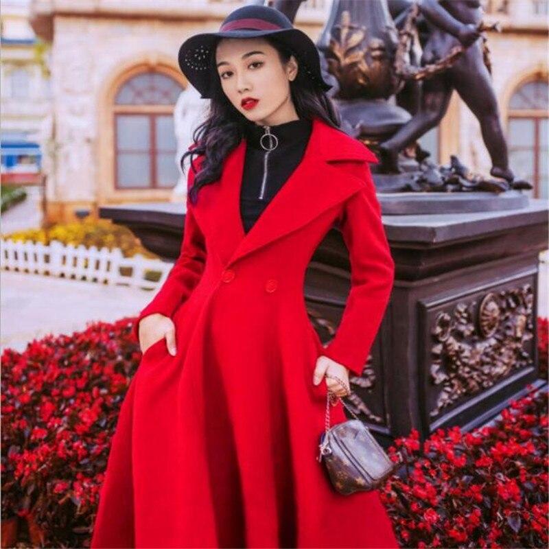 Dans Laine La Automne De Hiver 2018 Rétro Et Longue Taille Nouvelle Mince Manteau Rouge Section zpvw8xdq