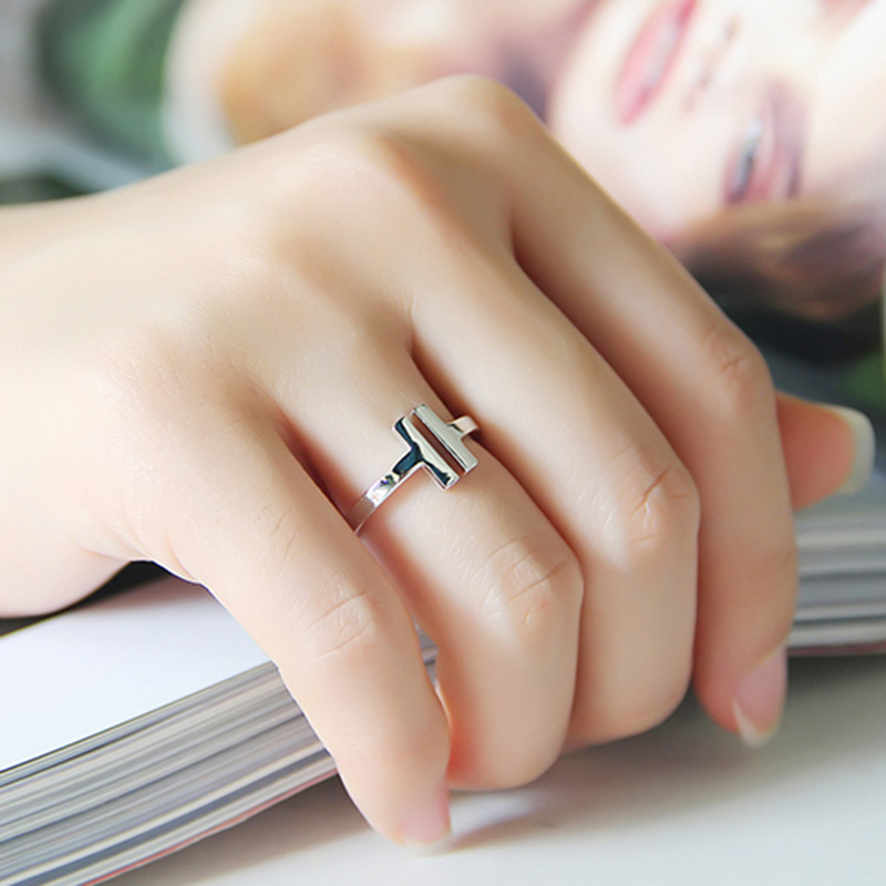 DJM AAA Quality Fashion Jewelry Gold Color Double T Shape Smooth Open Rings For Women And Men (DJ0876)