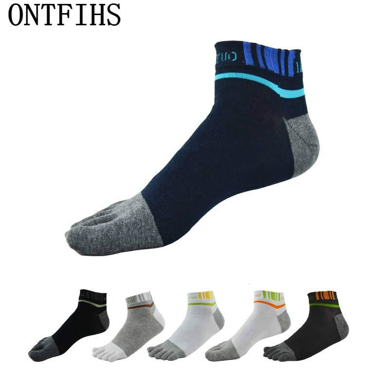3pairs/lot Five Fingers Toe Socks men Cotton Short Brand Sock Four Seasons Letters Stripe Breathable ankle sock Absorb Sweat T-8