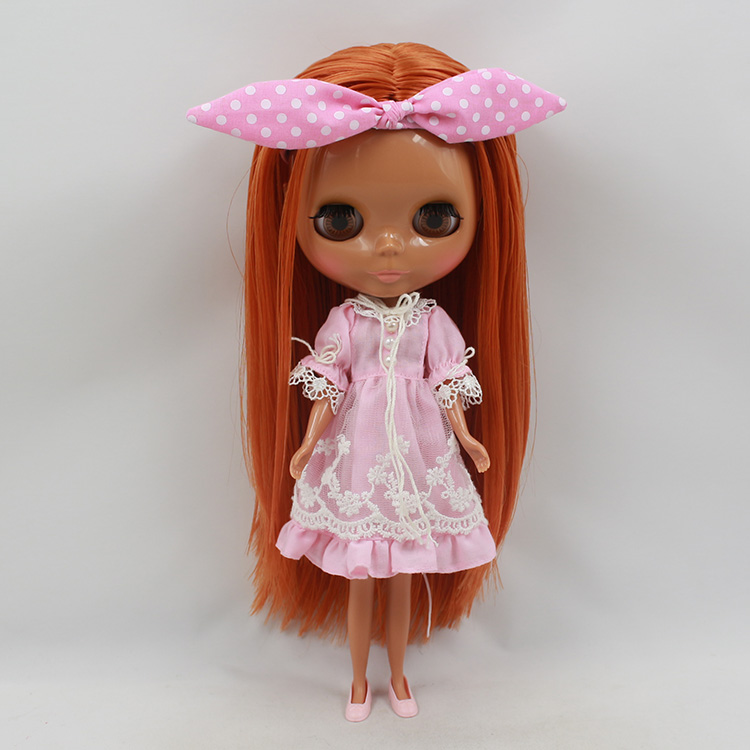 Bonecas Blyth doll DIY nude copper red hair black skin doll 12 inch fashion dolls for sale nude doll for series no 230bl2250 orange red hair black skin