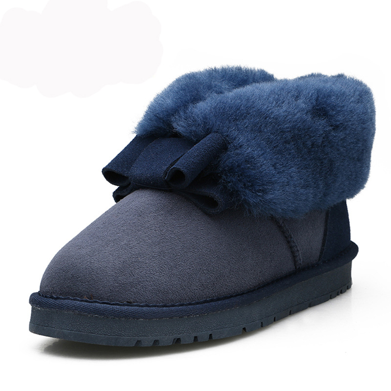 Casual bow decorated with designer women;s snow boots sheepskin fabric and thick wool warm cuffed furry winter women's shoes