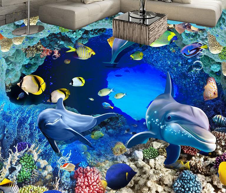 3d floor custom living room 3d floor wallpaper self adhesive wallpaper Underwater World Cave Coral vinyl flooring