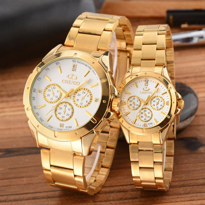 CHENXI Gold Watch Men Women Watches Top Brand Luxury Famous Wristwatch Male Clock Golden Quartz Wrist Watch Relogio Masculino