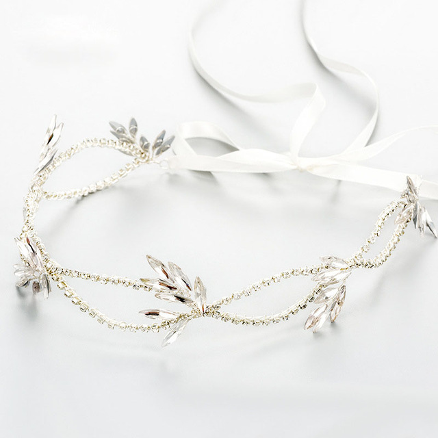 Gorgeous Handmade Ribbon Wired Crystal Rhinestone Flower Wedding Hair accessories Hair Vine Hairband Bridal Headband Bridesmaids все цены
