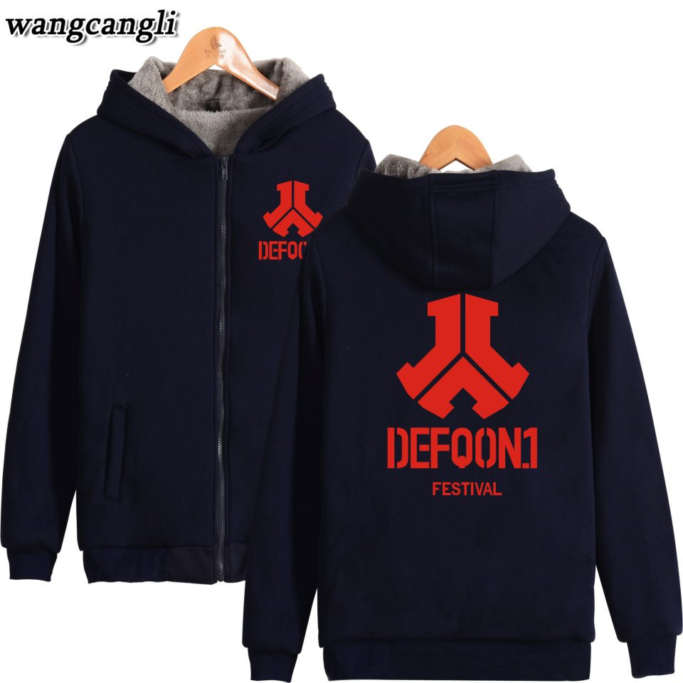 New Defqon 1 Hoodies Jacket Winter Men Casual Thick Warm Fleece Popular Hip Hop Hoodie Sweatshirt Defqon Pullover Man Coat