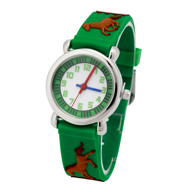 quartz watch Children's cartoon 3D brand Horse Pattern rubber strap watch Waterproof Resistant Wrist Watch цена 2017