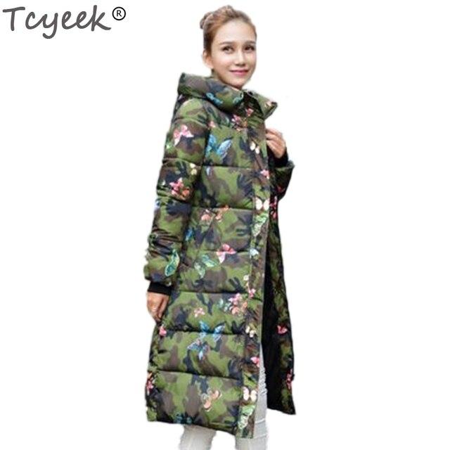 Warme Vrouwelijke Winterjas.Tcyeek Mode Winterjas Vrouwen 2019 Afdrukken Dikke Warme Vrouwelijke
