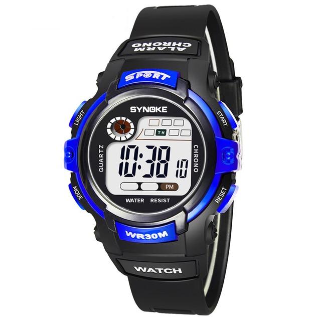 lo último bb24e 6fe23 € 4.47  Niños Sport reloj de pulsera Digital temporizador alarma Chrono  niño niña reloj 30 m niño impermeable reloj negro en Relojes de niños de ...