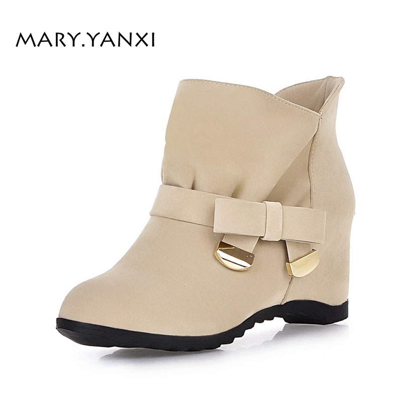 Women Spring Autumn Winter Ankle Boots Flock Plus Size Height Increasing Shoes Wedges Butterfly-knot Fleeces Short Plush CasualWomen Spring Autumn Winter Ankle Boots Flock Plus Size Height Increasing Shoes Wedges Butterfly-knot Fleeces Short Plush Casual