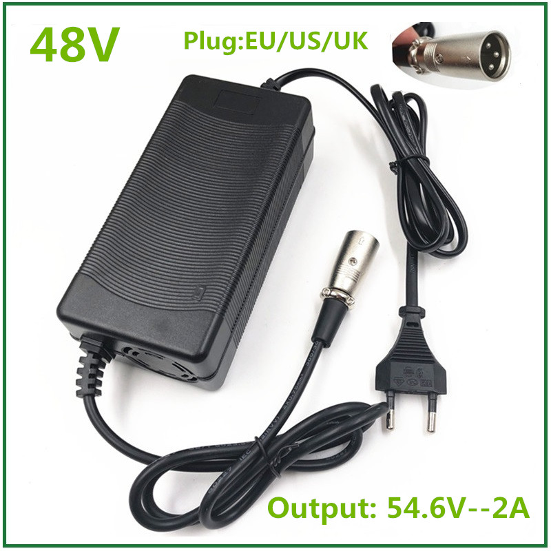 54.6V2A Charger  54.6v 2A  Electric Bike Lithium Battery  Charger For 48V Lithium Battery Pack  XLR Plug  54.6V2A Charger