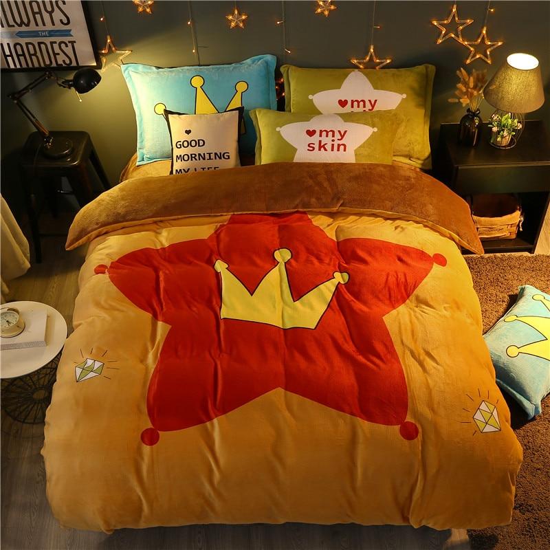 Cartoon Diamond / Crown / Pentagram Fleece Fabric Bedding Set Duvet Cover Bed Linen Bed sheet Pillowcase Gifts For Children