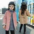 Kids Girls Spring New Korean Long Sleeved Woolen Coat Child Children Suede Coat Kids Clothing Pink Khaki