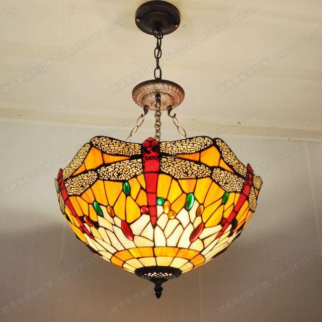 18 pouces de style européen rouge libellule anti lustre bar tiffany chambre verre lampes anglais café