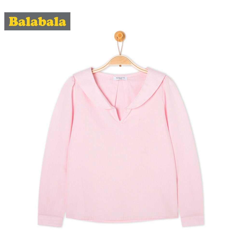 balabala Girls tshirt Children Spring Autumn Cotton Long-sleeved t Shirt Comfortable Sweet tShirts For Girls White Pink top tees