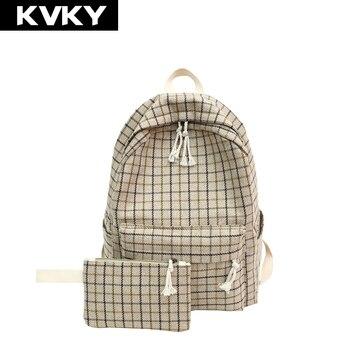 KVKY холст плед для женщин рюкзаки элегантный дизайн школьников рюкзак для подростков обувь девочек рюкзаки женский сумки на плечо Mochila >> Hebei Ishino Trade Co.,Ltd