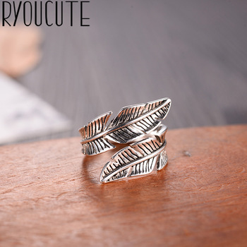 2019 Bijoux Fashion Real Silver Color Feather Rings for Women Boho Adjustable Antique Rings Anillos 1