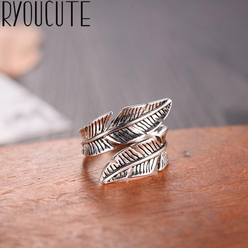2019 Bijoux de mode réel 925 en argent Sterling plume anneaux pour femmes Boho réglable S925 anneaux antiques Anillos joyas de plata