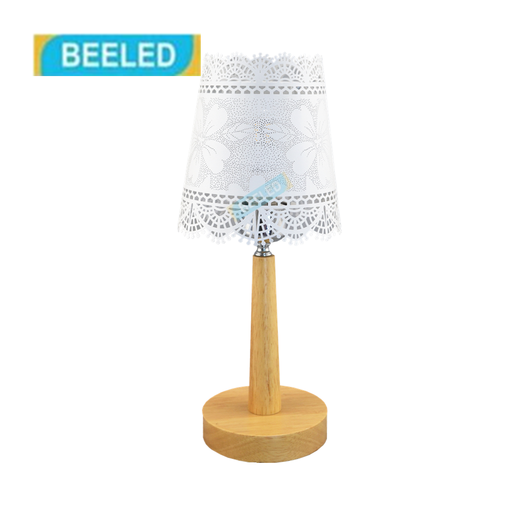 Table lamps for bedroom Night light White lampshade Table lamp for living room Home decorations for living room Wood lamp lampshade