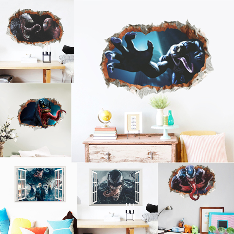 Venom 3d Window Broken Hole Wall Stickers Home Decoration Diy Movie Poster Deadly Guardian Mural Art Pvc Decals Pretty And Colorful Wall Stickers