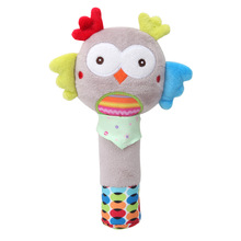 Cute baby cartoon animal puppy owl rabbit bee hand stick BB device toy rattle plush practice grip suitable for 6m+