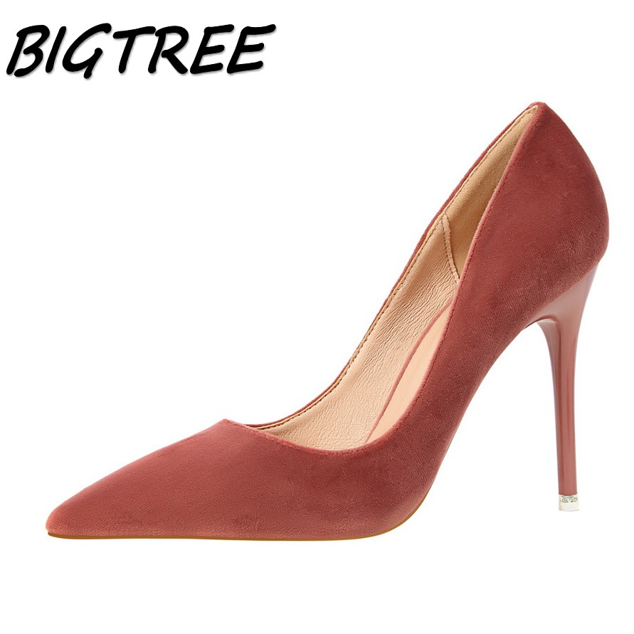 BIGTREE summer women Pointed Toe High heels shoes woman shallow flock pumps ladies Fashion Party Wedding High heel Single shoes meotina high heels shoes women pumps party shoes fashion thick high heels pointed toe flock ladies shoes gray plus size 10 40 43