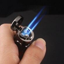 Три огня факел турбо зажигалка газовая Зажигалка сигарета зажигалки Синий Пламя Электронная зажигалка Зажигалки Курительные аксессуары