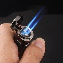 Isqueiro maçarico com três chamas azuis a gás, eletrônico turbo acessórios para fumar cigarros charutos