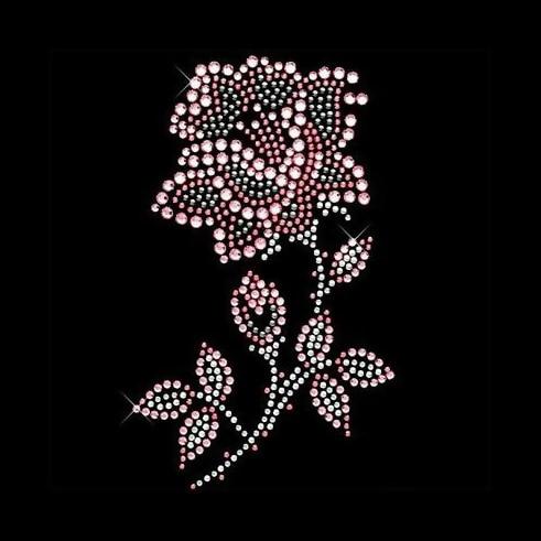 AB rose FLOWER RHINESTONE motif iron-on hotfix crystal