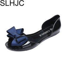 SLHJC 2017 Autumn Flats Crystal Jelly Summer Shoes Female Sweet Bow Open Toe Flat Heel Casual Beach Women Flat Sandals