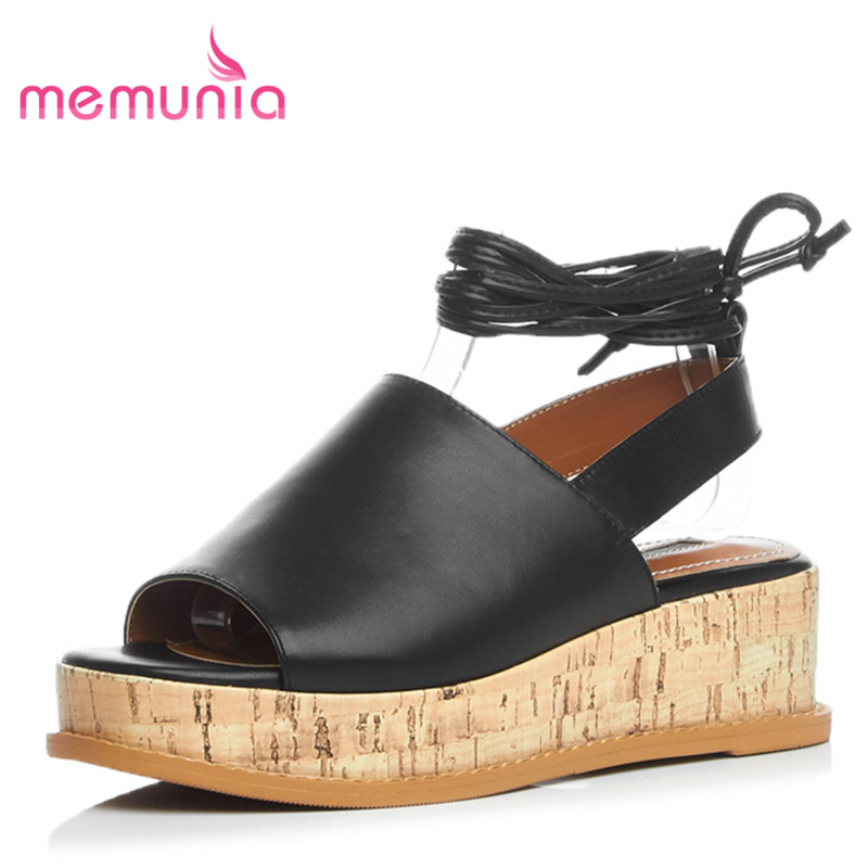 ФОТО MEMUNIA 2017 new arrive hot sale women high heels sandals genuine leather lace up fashion simple leisure wedges shoes peep toe