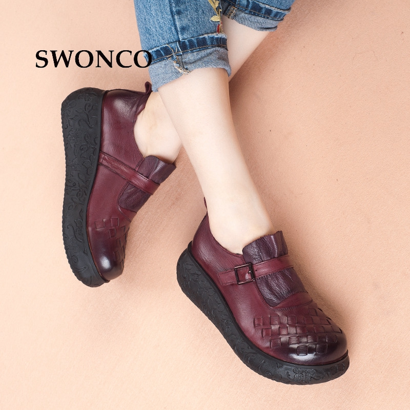 SWONCO Women's Flat Platform Shoes 2018 Spring Autumn Genuin