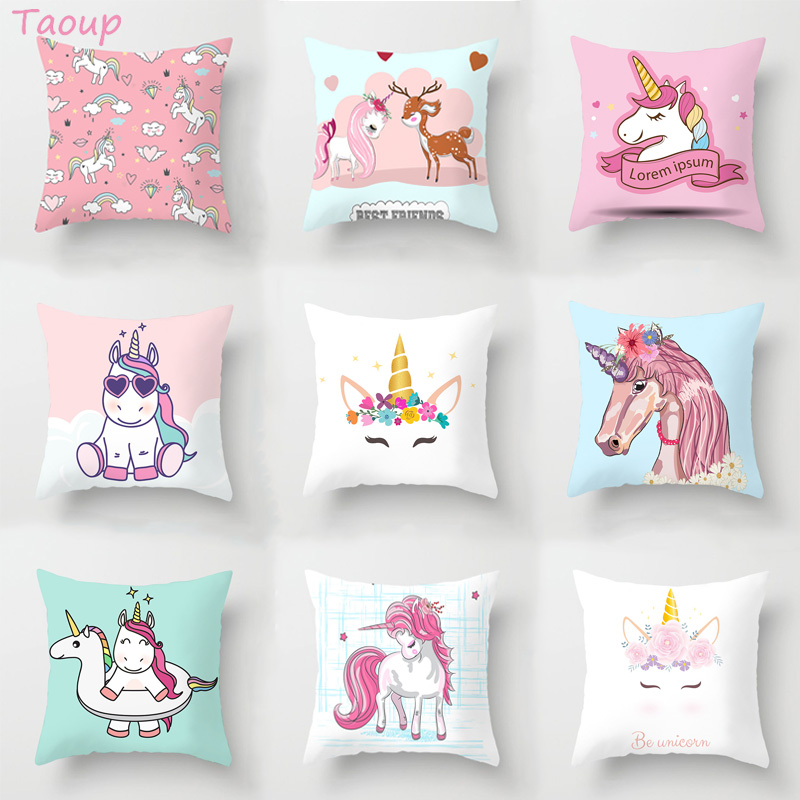 Taoup DIY Unicorn Decorative Pillowcase Cartoon Owl Seat Cushion Home Pillow Case Pillowcase 45*45 Pillow Cover Unicornio
