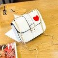 Da mulher famosa marca crossbody sacos rebites cadeia bloqueio pacote pequeno mini bolsa de ombro Coração impressão saco do desenhador bolsa das mulheres