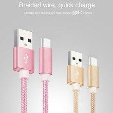 USB Bir 2.0 USB C için Hızlı Şarj Naylon Örgülü USB C Kablosu uyumlu Samsung Galaxy S10 S9 S8 artı Not 9 8, moto Z, LG V30 V20 G5