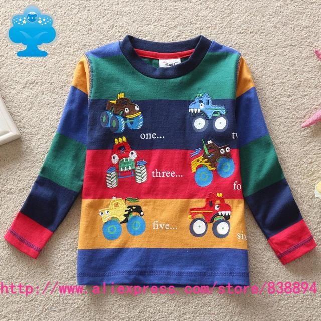 Sma flags new free shipping in spring 2015 baby&kids cartoon car fashion letters splicing stripe boys long sleeve T-shirt B803-1