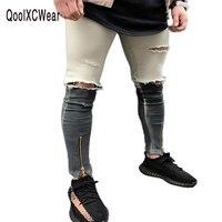 QoolXCWear 2017 Najnowszy Moda Tie-Dye Otworów Zniszczone Mężczyzna Schudnięcia Skinny Jeans Men Dżinsy Zgrywanie Denim Proste Biker