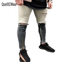 QoolXCWear 2017 Newest Fashion Tie Dye Hole Destroyed Mens Slim Denim Straight Biker Skinny Jeans Men