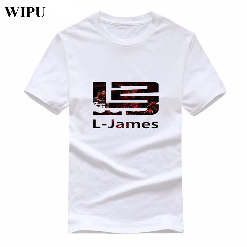 separation shoes 4c7bc 72aad US $6.23 22% OFF|WIPU LeBron James T Shirts New Fashion Men T Shirt Men  Tops Short Sleeve Cotton O neck Casual James 23 T shirts Tee-in T-Shirts  from ...