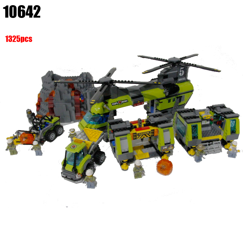 10642 City Police Volcanic Expedition Heavy Air Helicopter Assembly Building Blocks Bricks Toy Gift Brinquedos Compatible 60125 lepin 02004 356pcs city series volcanic expedition transport helicopter model building blocks bricks toys for children gift