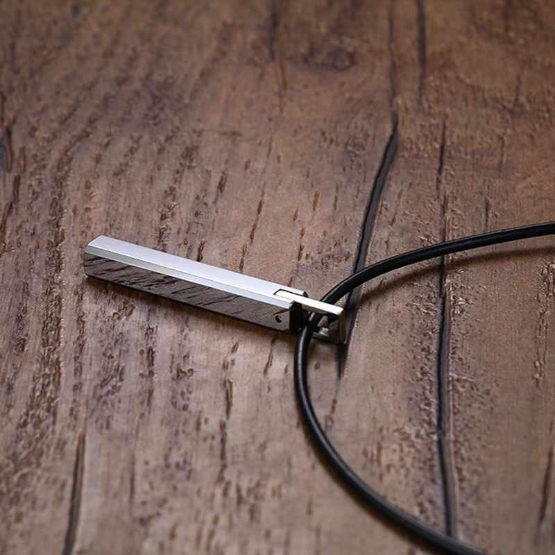 """Mężczyźni Bar Choker węglik wolframu filar wisiorek z czarna guma sznurek łańcuszek naszyjniki Collares Colar Kolye biżuteria męska 20"""""""